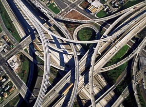 The Dallas Mixmaster aerial view. Add a few thousand cars and that was my day.